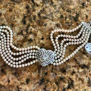 CAROLEE JEWELRY Faux Pearl & Crystal Heart Choker